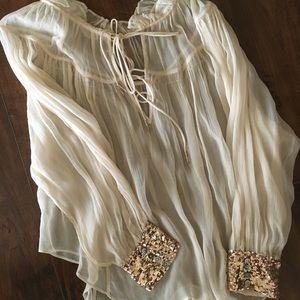 Sheer peasant blouse